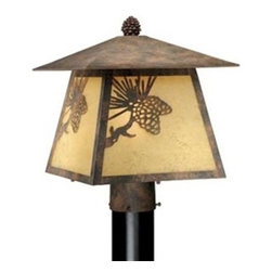 Vaxcel Lighting - Vaxcel Lighting Yellowstone Traditional Outdoor Post Lantern Light X-AO58505PO - Pine cone motifs compliment the pine cone finial on this charming Vaxcel Lighting outdoor post lantern light. From the Yellowstone Collection, the subtle tapering of the body compliments the diamond hip roof, pulling the look together. This post light comes finished in an earthy Olde World Patina and features rust scavo glass window panes for a warm, inviting glow.
