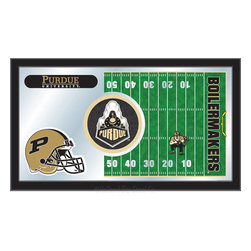 "Holland Bar Stool - Holland Bar Stool Purdue Football Mirror - Purdue Football Mirror belongs to College Collection by Holland Bar Stool The perfect way to show your school pride, our Football Mirror displays your school's symbols with a style that fits any setting.  With it's simple but elegant design, colors burst through the 1/8"" thick glass and are highlighted by the mirrored accents.  Framed with a black, 1 1/4 wrapped wood frame with saw tooth hangers, this 15""(H) x 26""(W) mirror is ideal for your office, garage, or any room of the house.  Whether purchasing as a gift for a recent grad, sports superfan, or for yourself, you can take satisfaction knowing you're buying a mirror that is proudly Made in the USA by Holland Bar Stool Company, Holland, MI.   Mirror (1)"