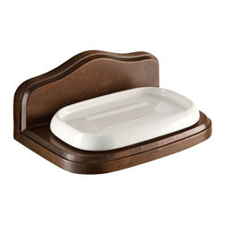 Gedy - Wall Mounted Porcelain Soap Holder with Wood Base - Stylish, decorative wall mounted soap holder made of porcelain and wood in an old walnut finish.