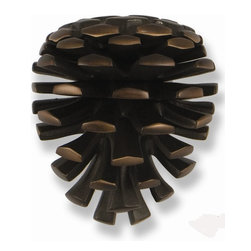 Michael Healy - Michael Healy Pinecone Door Knocker X-4922HM - The Oiled Bronze Pinecone Door Knocker was designed by Michael Healy. The oiled bronze finish is attained by successively dipping raw bronze castings into a patina solution and then buffing them to a satin finish. With the repetition of this process Michael creates the rich, dark multi-tone finish of his Oiled Bronze. The Pinecone has long been a symbol of celebration of the approaching winter and holidays. Appropriate in all seasons, your Pinecone Door Knocker never loses its inviting character. Hand crafted. Mounting hardware included.