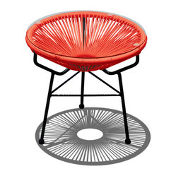 Acapulco Patio Side Table and Ottoman, Atomic Tangerine