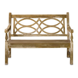 Hatfield Bench - With a traditional English garden look, the Hatfield Bench may look like wood but is made from long lasting, sturdy concrete that has Currey and Co's Portland finish applied to give the bench its slightly weathered look. An elegant seating option to place in your outdoor area among your lavender or roses and enjoy a nice cup of tea on.