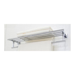 Vigo Industries - Rack and Towel Bar - Includes easy mount template. Round, hotel style hanging towel bar with square back plates. Stylish shelf. Warranty: One year. Made from solid stainless steel. Chrome color. 25.75 in. W x 8 in. D x 4.62 in. H. Assembly InstructionsThe VIGO Allure 24 in. Square Design Rack and Towel Bar provides a modern and stylish way to keep a supply of towels or accessories conveniently at hand.