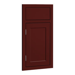 CliqStudios.com - Austin Garnet Red Paint Shaker Kitchen Cabinet Sample - Austin features an inset slab drawer front paired with a solid hardwood framed inset door and a crisp, detailed recessed panel. The fresh, clean lines and simple recessed panel of Austin blend contemporary and shaker styling to complement any d�cor. The CliqStudios Austin door pairs perfectly with stainless appliances, nickel finish hardware, glass subway tile backsplash, modern bar stools, hardwood floors and granite countertops.  Austin works equally well in an open concept kitchen, galley kitchen, u-shaped kitchen, kitchen island, kitchen peninsula or in a nearby kitchen desk or window seat. Consider coordinating with a variety of recessed lighting, undercabinet task lighting, pendant lighting and other decorative accents.