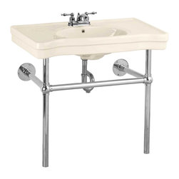 """Renovators Supply - Console Sinks Bone China Belle Epoque Deluxe Chrome Bistro 4"""" - Console Sinks: BELLE EPOQUE. Captures the elegance of the Belle Epoque. Spacious countertop, self-draining soap dishes, protective splashguard rim. Chrome-plated brass frame and integral towel bar. Grade A vitreous china construction with a SCRATCH & STAIN resistant  finish. Accepts a 4 in. centerset faucet sold separately. Measures 33 1/4 in. H x 35 1/2 in. W x 19 3/4 in. proj."""