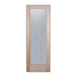"""Bathroom Doors - Glass Bathroom Door Frosted Obscure  WATER TRAILS - CUSTOMIZE GLASS BATHROOM DOORS!  Quality frosted glass bathroom door designs YOU Customize to suit YOUR decor!  Obscure glass bathroom doors create obscurity thru art!  Ship for just $99 to most states, $159 to some East coast regions, custom packed and fully insured with a 1-4 day transit time.  Available any size, as bathroom door glass insert only or pre-installed in a door frame, with 8 wood types available.  ETA for obscure decorative glass bathroom doors will vary from 3-8 weeks depending on glass & door type.........Block the view, but brighten the look with a beautiful interior glass door featuring a custom frosted glass design by Sans Soucie!   Select from dozens of sandblast etched obscure glass designs!  Sans Soucie creates their bathroom glass door designs thru sandblasting the glass in different ways which create not only different effects, but different levels in price.  Choose from the highest quality and largest selection of frosted decorative glass interior doors available anywhere!   The """"same design, done different"""" - with no limit to design, there's something for every decor, regardless of style.  Inside our fun, easy to use online Glass and Door Designer at sanssoucie.com, you'll get instant pricing on everything as YOU customize your door and the glass, just the way YOU want it, to compliment and coordinate with your decor.  When you're all finished designing, you can place your order right there online!  Glass and doors ship worldwide, custom packed in-house, fully insured via UPS Freight.   Glass is sandblast frosted or etched and bathroom door designs are available in 3 effects:   Solid frost, 2D surface etched or 3D carved. Visit our site to learn more!"""