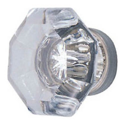 Clear Old Town Cabinet Knob - This beautiful knob made of lead crystal and is hand polished for maximum clarity and brilliance. Its sparkling colorless appearance is magnified by the silver mirroring on the back side of the knob, replicating antique design.