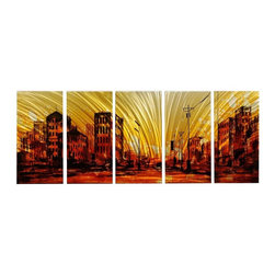 Matthew's Art Gallery - Metal Wall Art Cityscape Modern Sculpture Sunset City - Name: Sunset City
