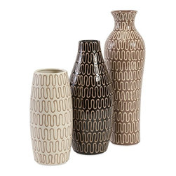 iMax - Tolek Vases, Set of 3 - On the same decorative wave length patternwise, this trio of ceramic vases each retains its own unique personality in shape and color. Use them separately or mix them together for something delicious.