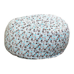 Great Deal Furniture - Ashley 3-Ft Topaz Blue Grey Microfiber Fabric Bean Bag Chair - Lounge in style with the Ashley 3-foot topaz blue grey polka-dot print fabric bean bag. This unique pattern and plush fabric makes this an inviting piece for any adult or child. Its microfiber polka-dot fabric is soft to the touch and the cool colors will complement almost any decor. Made in the United States with an eco-friendly foam filler, this bean bag offers a luxurious and comfortable option to your in home lounging experience.