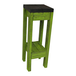 Lime Distressed Accent Table - Table measures 11L x 11W x 32H. Can be used as an Accent Table, End Table, Side Table and more. Made from solid wood. The construction of this table is very sturdy and durable. Has been stained brown and painted a poppin lime green with an all over distressed finish.