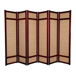 Oriental Furniture - 6 ft. Tall Jute Shoji Screen - 6 Panel - Rosewood - This is a unique variation of a Japanese shoji screen made from woven jute panels, and is a great choice where the white paper of a traditional shoji screen would not fit with the decor. Each panel frame is crafted from durable, lightweight spruce using East Asian style mortise and tenon joinery.