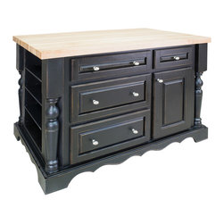 "Distressed Black Island with Four Drawers/One Cabinet - This island features four drawers and one cabinet on one side, three shelves with removable wine racks on the reverse side, and four adjustable spice shelves on both ends.  Coordinating decorative hardware is included.  Maple grain butcher block top is 1 ¾"" thick."