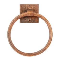 "Premier Copper Products - Premier Copper Products TR7DB Oil Rubbed Bronze  7"" Towel Ring Hand - This Premier 7"" Hand Hammered Full Size Copper Towel Ring will bring style and beauty to any bathroom in your home. Green Recyclable Products like Copper Sinks are a must have in today's modern home. This product is sure to impress your guests and satisfaction is always guaranteed. FEATURES:     * Configuration: Round Towel Ring with Square Mounting Plate    * Design: Hammered Copper Surface    * Color: Oil Rubbed Bronze    * Outer Dimension: 7"" x 7"" Ring Only    * Inner Dimension: 3"" x 3"" x .25"" Mounting Plate    * Installation Type: Wall Mount (2 screws)    * Material Gauge: 18    * Hand Made    * 100% Recyclable    * Composition: 99.7% Pure Recycled Copper    * Lead Free ("