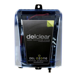 Blue Wave - Blue Wave Del Clear Above  Ground Ozonator - Del clear ozonator for above ground pools reduces chemical consumption 60-90% while maintaining crystal clear-germ free water! Ozone is rapidly becoming the sanitizer of choice in bodies of water all over the world. In Europe ozone is so effective at killing contaminants that it is used to purify the drinking water in most countries there. Ozone produces oxygen molecules that are an extremely powerful sanitizer, killing 99.99% of all bacteria, viruses and molds on contact. Del clear corona discharge system produces 5 times the amount of germ killing ozone as other units. Now with del clear you can use this powerful sanitizer that uses no chemicals to keep your above ground pool water safe and crystal clear. With our ozonator you can reduce the use of chemicals up to 90%. Ozone is 100% natural (it pure oxygen) and it insures a healthy, safe pool. The unit is easy to install, completely automatic, and is effective on pools up to 25,000 gallons. Enjoy the benefits of ozone this season with the powerful del-clear corona discharge ozonator. 1-year warranty.