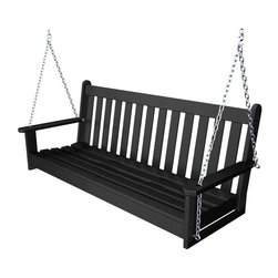 Polywood 5-Foot Recycled Plastic Vineyard Porch Swing, Black - Porch swings will forever remind me of summer afternoons with my grandparents; therefore, one is a must on my new porch! Now, to decide on a color. Bright and cheerful? Or moody and posh?