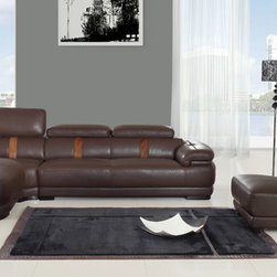 "Chintaly - Oklahoma Sectional - Features: -Oklahoma collection. -Brown color. -Half bonded leather. -2 Piece. -Adjustable head. -Manufacturer provides six months warranty for manufacturer defects reported within 7 days of receipt of merchandise. Dimensions: -Oklahoma bonded leather chaise lounge: 29.9"" H x 46.1"" W x 79.9"" D. -Oklahoma right facing sofa: 29.9"" H x 78.8"" W x 43.3"" D. -Oklahoma bonded leather armless chair: 29.9"" H x 31.5"" W x 43.3"" D."