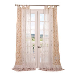 Exclusive Fabrics & Furnishings, LLC - Antoinette White Patterned Sheer Curtain - Your home might not be the Palace of Versailles, but it deserves the regal elegance of this stately sheer curtain. Sunlight will create a majestic diffusion of the pattern.