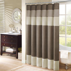 Madison Park - Madison Park Soloman Pieced Faux Silk Shower Curtain - The Madison Park Soloman faux silk shower curtain has the beautiful texture of natural silk,combined with the easy-care attributes of 100 percent polyester. Wide strips of neutral fabric provide contrast and interest. The panel is 72 x 72 inches.