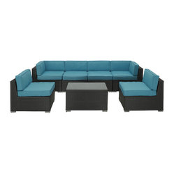 Modway - Aero 7 Piece Sectional Set in Espresso Turquoise - Introduce aerodynamic comfort with the Aero Outdoor Sectional Set. Welcome your friends and family to a motivational setting of exceptional appeal. Aero is a versatile seating environment built for patio, backyard or pool areas in need of something dynamic.