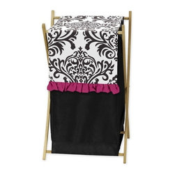 Sweet Jojo Designs - Isabella Hot Pink, Black and White Laundry Hamper by Sweet Jojo Designs - The Isabella Hot Pink, Black and White Laundry Hamper by Sweet Jojo Designs, along with the  bedding accessories.