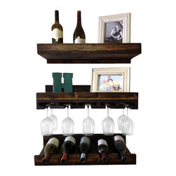 (del)Hutson Designs - Rustic Luxe Tiered Wine Rack - Set of 3 - This is for a set of 3 shelves. 1 glass holder 1 bottle holder and 1 regular shelf.