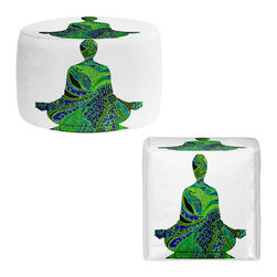 DiaNoche Designs - Ottoman Foot Stool by Susie Kunzelman - Man Woman Yoga II - Lightweight, artistic, bean bag style Ottomans. You now have a unique place to rest your legs or tush after a long day, on this firm, artistic furtniture!  Artist print on all sides. Dye Sublimation printing adheres the ink to the material for long life and durability.  Machine Washable on cold.  Product may vary slightly from image.