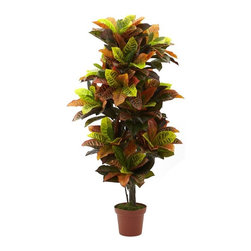 """56"""" Croton Plant (Real Touch) - Sometimes, a reproduction looks so interesting (and feels so good) that you have to stare in wonderment. That's the feeling this Croton plant permeates - just take a look at the deep, rich color palette, combined with the soft, billowy look. Then reach out and touch it - because it's RealTouch it feels every bit as good as it looks. Makes an ideal accent piece in the home or office, and makes a great gift as well. Height= 56 In. x Width= 28 In. x Depth= 28 In."""