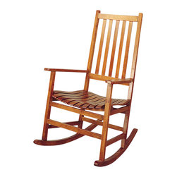 Coaster - Coaster Casual Traditional Wood Rocker - Coaster - Gliders and Rockers - 4511 - This simple wood rocker will look great in your casual or traditional style home. The lovely porch style rocking chair has a simple look with a straight vertical slat back and contoured slat seat for comfort. In a light Oak finish this rocking chair will complement your decor. Straight wooden arms frame the piece with square legs and a wood rocker base below. Add this casual rocker to your home for a classic look and soothing relaxation. Choose from a variety of stunning styles in this groups of rocking chairs. Sit back and relax enjoying the soothing rocking motion. With different design styles and wood finishes available you are sure to find the perfect fit for your home. Add a rocker to your living room den library or bedroom to create a calming and relaxing space without compromising your unique style.