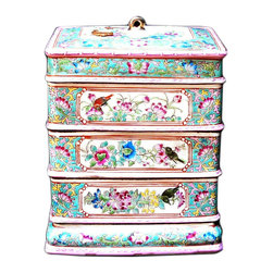 Golden Lotus - Porcelain Pink Blue Rectangular Shape Stack Candy Box - This is a stylish elegant decorative accent for the modern home. It can become a few dishes for candy or accessories display. When all stack together, it is a home decoration charm.