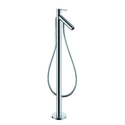 "Hansgrohe - Hansgrohe 10456001 Chrome Axor Starck Axor Starck Tub Filler Faucet - Axor Starck Tub Filler Faucet Free Standing with Single Function Hand Shower, 49"" Techniflex Hose and Diverter Tub Spout Less ValveMounts on floor beside tubM2 ceramic cartridgeBoltic handle lockDiverter for Hand shower in spout tipHandshower with full spray63"" techniflex hoseValve Required - Must be ordered separately *Certain areas require for this unit to be pressure balanced. Check your local plumbing codes. You may purchase the in-line pressure balance valve separately - 13418"