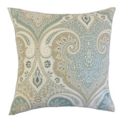 "The Pillow Collection - Kirrily Damask Pillow, Seafoam 18"" x 18"" - Bring excitement to your home with this unique accent piece."