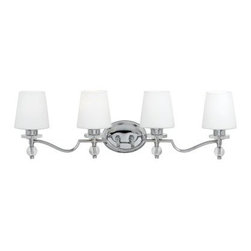 Quoizel Hollister HS8604C Bath Fixture - 32.5W in. - Polished Chrome - The Quoizel Hollister HS8604C Bath Fixture - 32.5W in. - Polished Chrome provides a timeless style that will look beautiful in any bathroom, from traditional to contemporary. Built from steel and finished in gleaming chrome, this fixture has four white glass shades, and can be mounted as an uplight or downlight.About Quoizel LightingLocated in Charleston, South Carolina, Quoizel Lighting has been designing timeless lighting fixtures and home accessories since 1930. They offer a distinctive line of over 1,000 styles, including chandeliers, lamps, and hanging pendants. Quoizel Lighting is the perfect way to add an inviting atmosphere to any area in your home, both indoors and out.