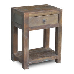 Timbergirl - Reclaimed Wood End Table with Drawer - Rest easy, it's reclaimed. With drawer fronts crafted from reclaimed Mango wood, this side table will bring rustic charm to any room. In a former life, the wood was used in Indian railway trestles. Today, it's prized for its natural imperfections and character; no two pieces are exactly alike.