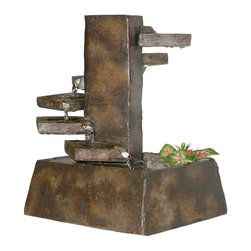Alpine Fountains - Eternity Pouring Water on Steps Fountain with - Includes all necessary parts for easy assembly and operation. Can be used in any home, garden or office setting. Guarantee: One year limited on pumps. 9 in. L x 7 in. W x 11 in. H (6.2 lbs.). Assembly InstructionClear your mind as these unique fountains will slowly melt away tension. The soothing sound of naturally flowing water provides the perfect backdrop for sleep, relaxation, and concentration. Fountains designed by a team of gifted artisans. Each of these exquisite pieces creates a striking focal point wherever placed. The fountains gently flowing waters provide a calming effect as they soothe nerves and restore body, mind, and spirit.