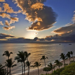 Wallmonkeys Wall Decals - Sunset over Kaanapali Beach in Maui Wall Mural - 72 Inches W x 48 Inches H - Easy to apply - simply peel and stick!