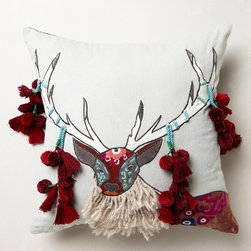 Boreal Forest Appliqué Pillow, Gray - I love Anthropologie pillows. They always have so much character and are so unique. This one has tassels hanging from Mr. Reindeer's antlers and is perfect for December.