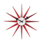 Vitra - Nelson Sunburst Clock - Designed in the 1940s and 50s, George Nelson's clocks were highly successful both as popular consumer products and icons of high design. One of the most original American designers, Nelson used pure color and bold graphic forms to make a statement still as compelling today as it was half a century ago. The timekeepers are diligently reproduced by the Vitra Design Museum. Powered by one AA battery (included).