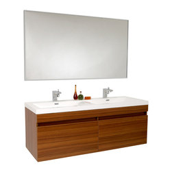 """Fresca - 56.5 Inch Teak Modern Bathroom Vanity - Striking in its simplicity, this double sink vanity offers modern sophistication to your bathroom.  It also features uniquely designed chrome faucets and special pull out drawers.  Its large sink has a unique wavy bottom for splash of fun.  Many faucet styles to choose from.  Optional side cabinets are available. Dimensions: 56.63""""W X 20""""D X 21.63""""H (Tolerance: +/- 1/2""""); Counter Top: White Acrylic Countertop/Sink with Overflow; Finish: Teak; Features: 2 Drawers, Soft Closing; Hardware: Chrome; Sink(s): 24""""x13""""x4"""" White Acrylic Sink with Overflow; Faucet: Pre-Drilled for Standard Single Hole Faucet (Included); Assembly: Light Assembly Required; Countertop, Sink, Cabinet Not Attached; Large cut out in back for plumbing; Included: Cabinet, Sink, Choice of Faucet with Drain, Mirror (56.75""""W x 31.5""""H); Not Included: Backsplash"""
