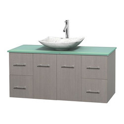 Wyndham Collection - 48 in. Single Bathroom Vanity in Gray Oak, Green Glass Countertop, Arista White - Simplicity and elegance combine in the perfect lines of the Centra vanity by the Wyndham Collection . If cutting-edge contemporary design is your style then the Centra vanity is for you - modern, chic and built to last a lifetime. Available with green glass, pure white man-made stone, ivory marble or white carrera marble counters, with stunning vessel or undermount sink(s) and matching mirror(s). Featuring soft close door hinges, drawer glides, and meticulously finished with brushed chrome hardware. The attention to detail on this beautiful vanity is second to none.