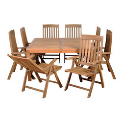 International Home Miami - Amazonia Teak Eiffel 9-Piece Teak Square Dining Set - Great Quality, elegant design patio set, made of 100% high quality teak wood. Enjoy your patio with style with these great sets from our Amazonia Teak outdoor collection
