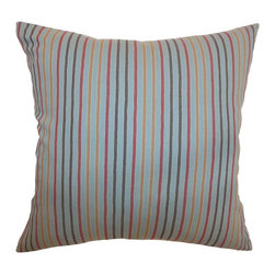 """The Pillow Collection - Lesly Stripes Pillow Blue Grey 18"""" x 18"""" - Add this playful stripes throw pillow in your space. The accent pillow features colorful stripes in orange, red, blue,grey and brown. This square pillow adds a funky twist to your room. This 18"""" pillow is made from 100% high-quality soft cotton fabric. Mix and match this decor pillow with solids and patterns. Hidden zipper closure for easy cover removal.  Knife edge finish on all four sides.  Reversible pillow with the same fabric on the back side.  Spot cleaning suggested."""