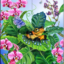The Tile Mural Store (USA) - Tile Mural - Poison Dart Frog  - Kitchen Backsplash Ideas - This beautiful artwork by Lori Schory has been digitally reproduced for tiles and depicts a Frog and Butterfly hanging out.    This tile mural with frogs would be perfect as a part of your kitchen backsplash tile project or your tub and shower surround bathroom tile project. Images of frogs on tile make an impressive kitchen backsplash idea and are great to use in the bathroom too for your shower tile project.