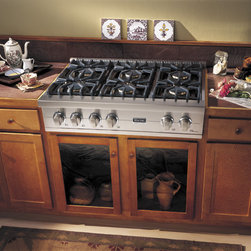 """Viking Professional Series VGRT5366BSS 36"""" Custom Sealed Burner Rangetop - 36"""" Custom Sealed Burner Rangetop with Six VSH™ Pro Sealed Burners with SureSpark™ Ignition System and VariSimmer&Trade; Setting, One TruPower Plus™ Burner, Porcelainized Cooking Surface"""
