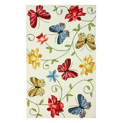"""nuLOOM - Country & Floral Contemporary 7' 6"""" x 9' 6"""" White Hand Hooked Area Rug HK92 - Made from the finest materials in the world and with the uttermost care, our rugs are a great addition to your home."""