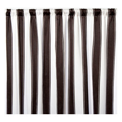 Sin in Linen - Black and White Stripe Curtain Panel - 48 x 84 Inches - These classic black and white stripe curtains are a great focal piece for any room with their large graphic stripes.