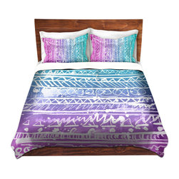 DiaNoche Designs - Duvet Cover Microfiber by Organic Saturation - Pastel Ombre Aztec - DiaNoche Designs works with artists from around the world to bring unique, artistic products to decorate all aspects of your home.  Super lightweight and extremely soft Premium Microfiber Duvet Cover (only) in sizes Twin, Queen, King.  Shams NOT included.  This duvet is designed to wash upon arrival for maximum softness.   Each duvet starts by looming the fabric and cutting to the size ordered.  The Image is printed and your Duvet Cover is meticulously sewn together with ties in each corner and a hidden zip closure.  All in the USA!!  Poly microfiber top and underside.  Dye Sublimation printing permanently adheres the ink to the material for long life and durability.  Machine Washable cold with light detergent and dry on low.  Product may vary slightly from image.  Shams not included.