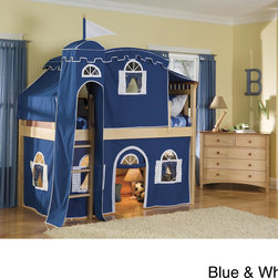 None - Bennington Low-Loft Twin Bed with Castle Tent - The Bennington bed features classic styling; flat panels with spindles. This low-loft bed will spark your little one's imagination,with a sturdy construction fashioned to resemble a medieval castle.