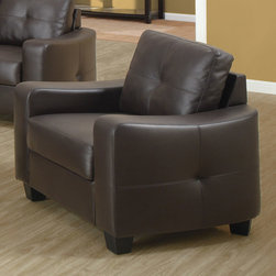Coaster - Jasmine Collection Chocolate Casual Chair - Smart styling wrapped in a super-soft bonded leather match. The shapely Jasmine chair enhances any space with big, plush cushions, and slightly flared design that welcomes you with open arms.