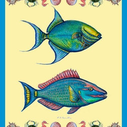 """Betsy Drake - Betsy Drake Parrot and Trigger Fish Throw - Warm and richly designed, these 50""""x60"""" throws brighten up any decor."""